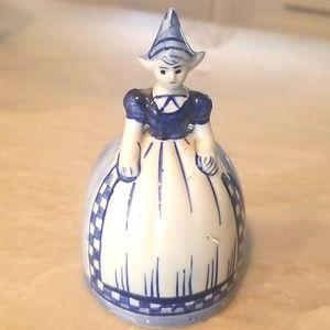 DELFT BLUE HOLLAND Porcelain Dutch Girl Lady Bell